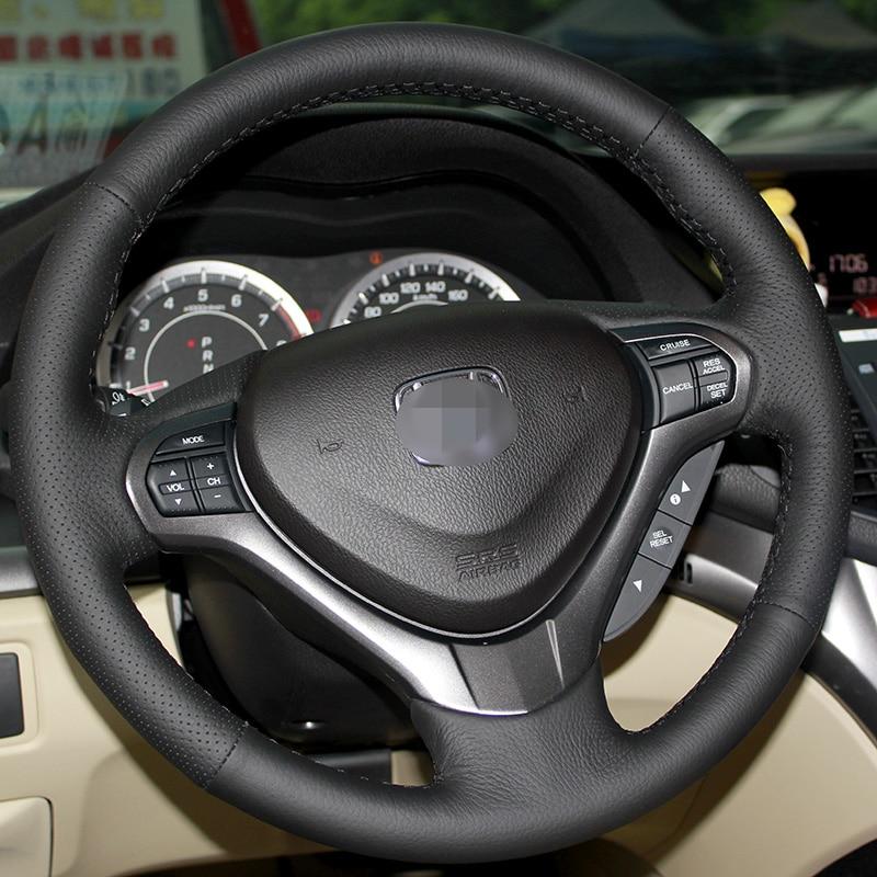 Cubierta del volante de cuero negro cosido a mano brillante para - Accesorios de interior de coche - foto 3
