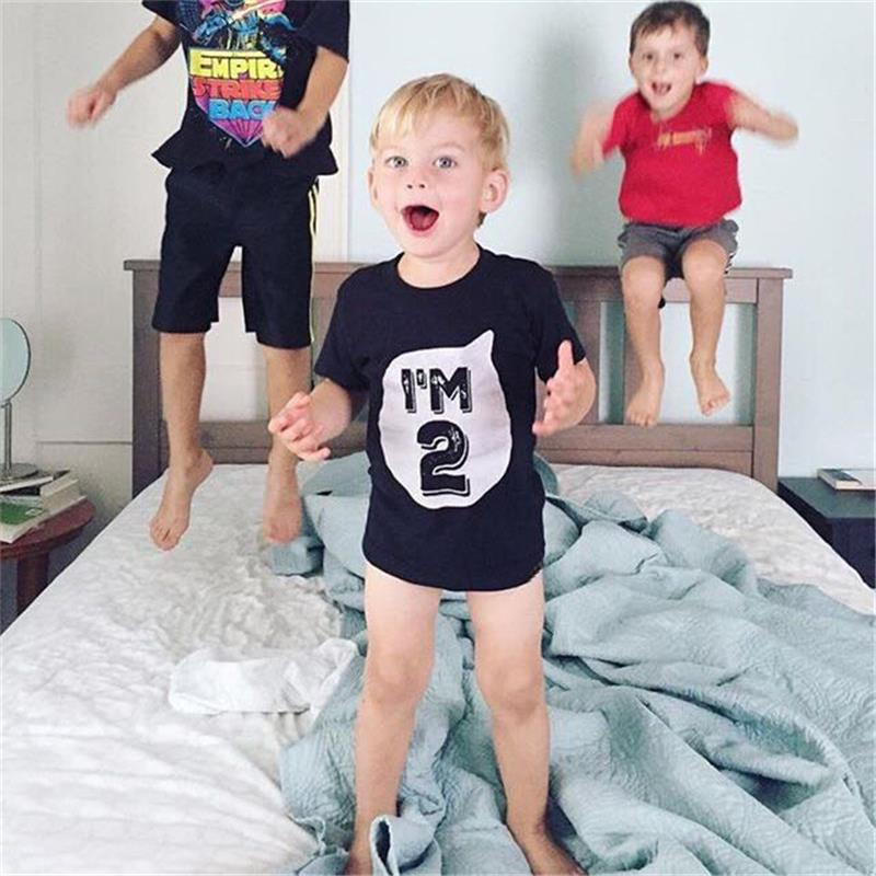 Outfits Tops Shirt Number Birthday Toddler Girl Baby Causal 3-Years Print Boy Summer