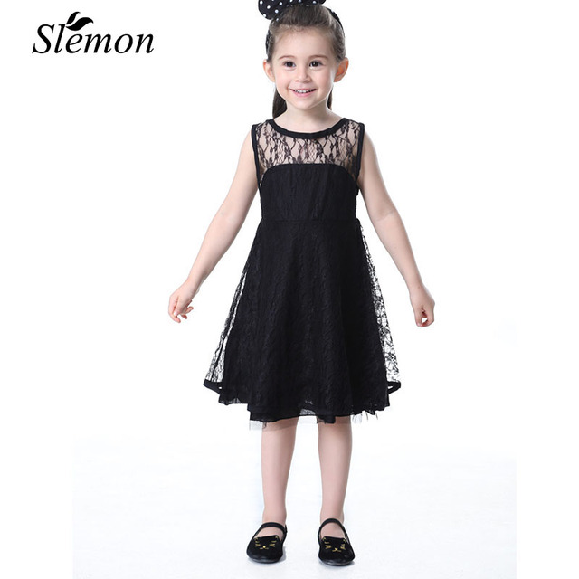 0b289a5f146c Elegant Girls Vest Dress Summer 2018 Children Princess Ball Gown Lace  Sleeveless Kids White Black Hollow Backless Dress for Girl