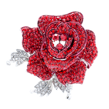 Diamantes de Imitación de cristal Rojo Rosa Flor Broche Mujeres Accesorios de La Joyería FB1077RED