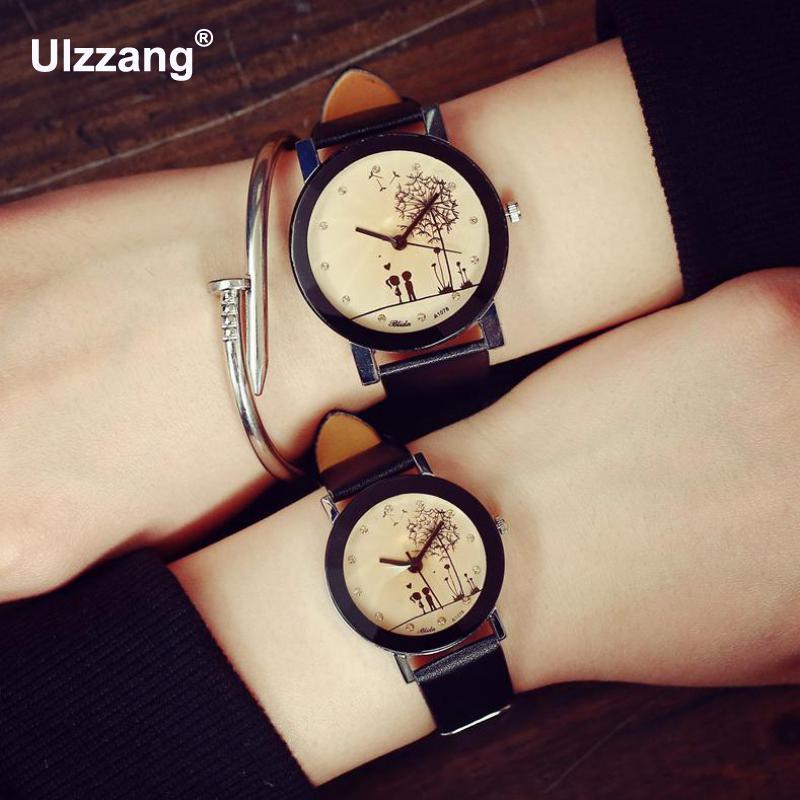 Fashion Black Cute Boy and Girl Dandelion Love Crystal Leather Quartz Wristwatch Watch for Lovers Men Women Boy Girl sometimes i lie