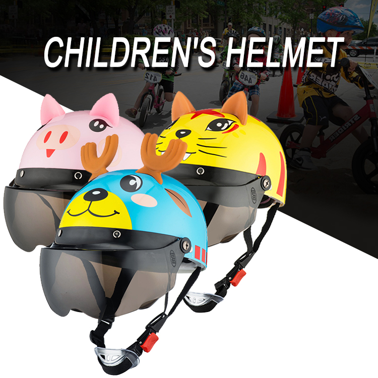 Image 5 - Electric Vehicle Sccoter Kids Half Helmet Children Safety Boy Girl Cartoon Motorcycle Helmet with Goggle Visors for 3 10 years-in Helmets from Automobiles & Motorcycles