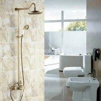 Shower Faucets Bathroom Faucet Set Antique Brass Shower Set 8 Inch Rain Shower Faucet Mixer Tap Single Lever Handle ars206
