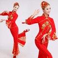 Amarelo Vermelho Chinês Tradicional Antiga Plus Size Vestido Dança Yangko Traje Chinês Folk Dança Do Leque Traje Trajes de Dança