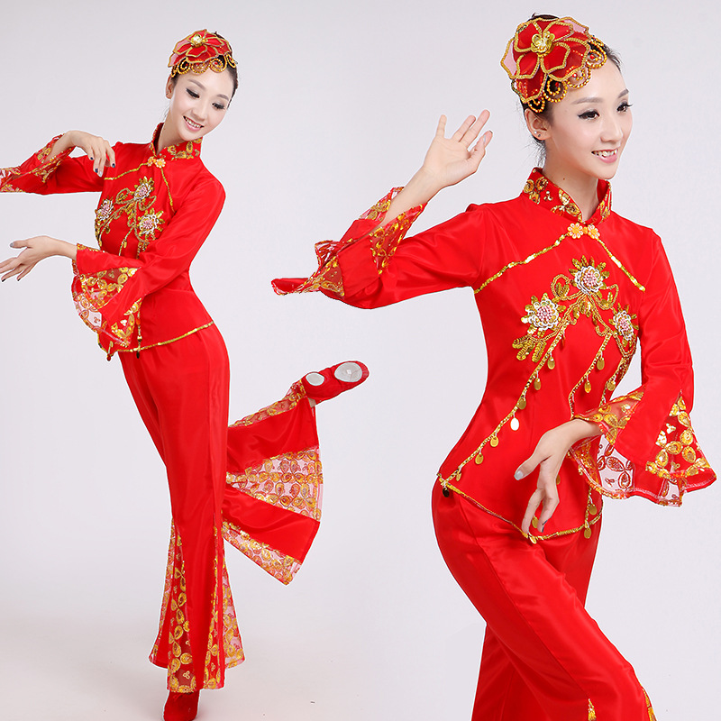 Yellow Red Chinese Ancient Traditional Plus Size Dress Chinese Yangko Dance Costume Folk Dance Costume Fan