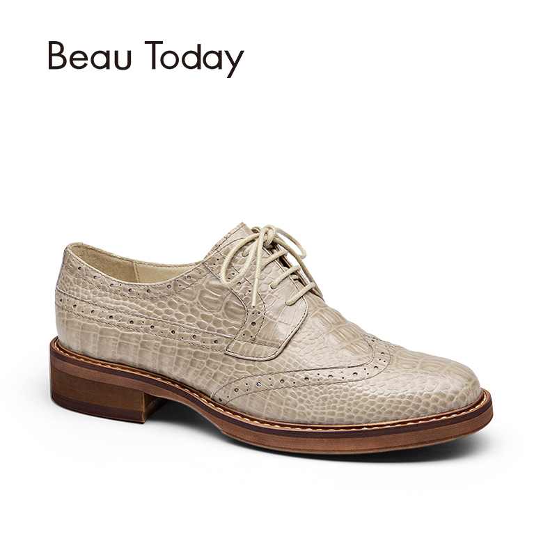 BeauToday Brogue Shoes Women Genuine Full Grain Leather Round Toe Lace-Up Fashion Spring Autumn Lady Flats Wingtip Oxfords 21084 2016 autumn fashion women full grain leather flat heel white shoes student bling round toe leather brand basic flats loafers