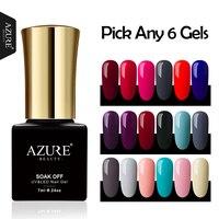 AZURE BEAUTY 6pcs Gel Polish Nail Varnish Soak Off Hybrid Gel Varnish 60 Colors Nail Art Salon Azure Nail Gel Polish