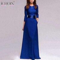 High Quality Summer Retro Solid Floor Length Long Dresses Sexy Elegant Women Blue Maxi Dress S