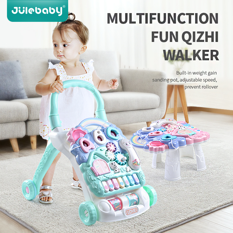 Children's Music Walker Sit-to-Stand Stroller Multifunctional Water Tank Adjustable Baby First Steps Car Toy Trolley