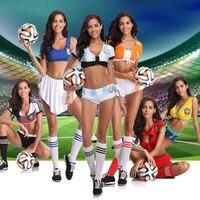 LMFC 2018 Football Baby Cheerleader Costume Sexy Cheerleading Women Football Sexy Sports Costumes Germany Argentina Spain Brazil