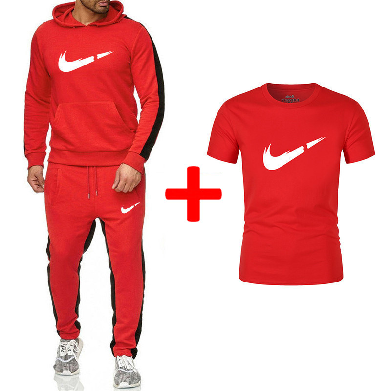 Brand New Men Sets Fashion Autumn Winter Sporting Suit Hoodies+Sweatpants+T Shirts 3 Pieces Sets Slim Tracksuit Brand Clothing