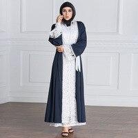 2018 נשים אופנה סוודר בגדים אסלאמיים העבאיה שמלה מוסלמית דובאי החלול החוצה בתוספת גודל 5XL חלוק Djellaba Jilbab העבאיה מוסלמית