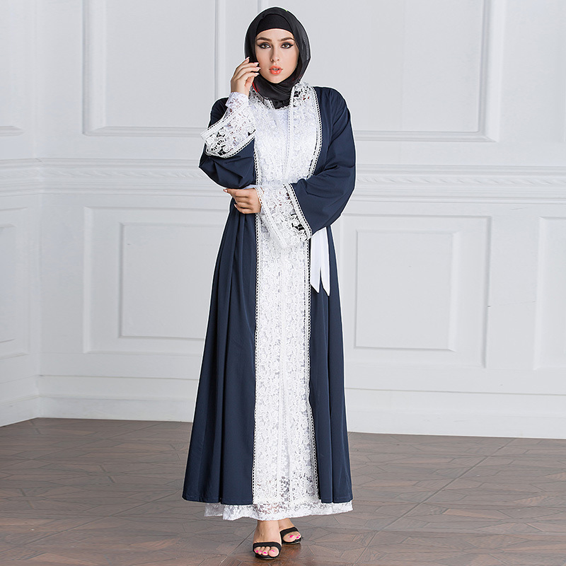 2018 Fashion Women Cardigan Muslim Dress Abaya Dubai Islamic Clothing Hollow Out Plus Size 5xl