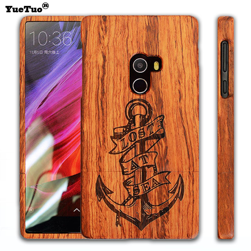 YueTuo luxury real genuine rosewood coque case for xiaomi mi mix mimix by laser carving phone wood hard back cover accessories