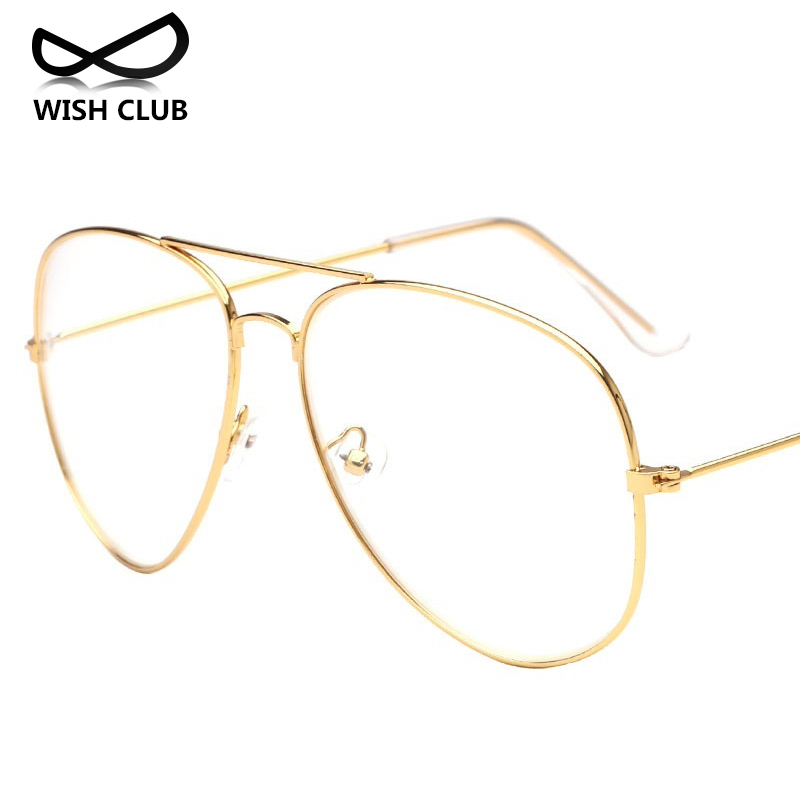 2017 new style clear glasses women classic optics glasses pilot metal frame reading What style glasses are in fashion 2015