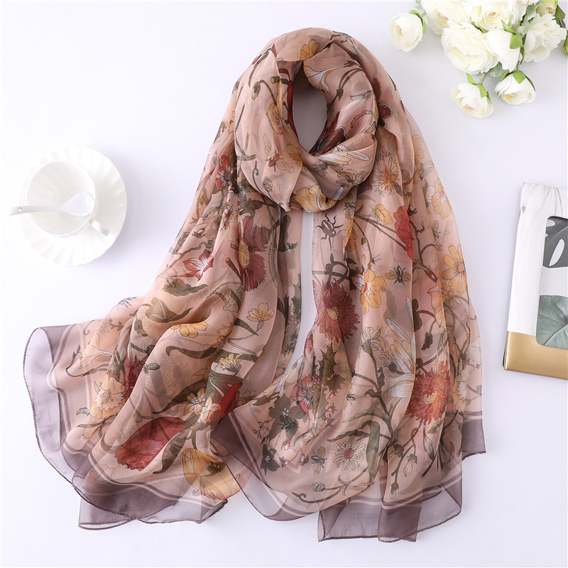 Image 4 - 2019 New Floral Print Summer Silk Scarf Bohemia For Women Silk Hijab Women Shawls and Wraps SIlk Pareo Beach Scarf Sarong WrapWomens Scarves   -