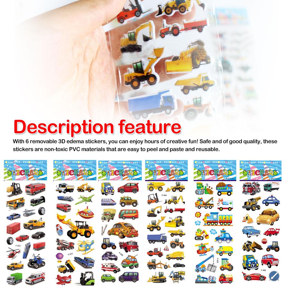 6 Sheets Bubble Stickers 3D Cartoon Car Puffy Sticker Classic Toys Scrapbook For Kids Children Gift Reward Sticker