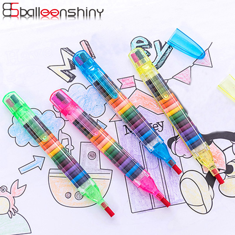 BalleenShiny Children Painting Toys 20 Colors Wax Crayon Baby Funny Creative Educational Oil Pastels Kids Graffiti Pen Art Gift