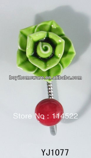 new design single hook with colored ceramic flower and knob ball coat hook coat hanger towel hook wholesale YJ1077