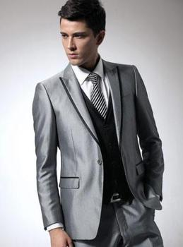 2017 Developed Silver Men Suits Groom Tuxedos Peak Lapel Best Men Wedding Suits Blazer Men's Formal Prom Wear(Jacket+Pants+Vest)