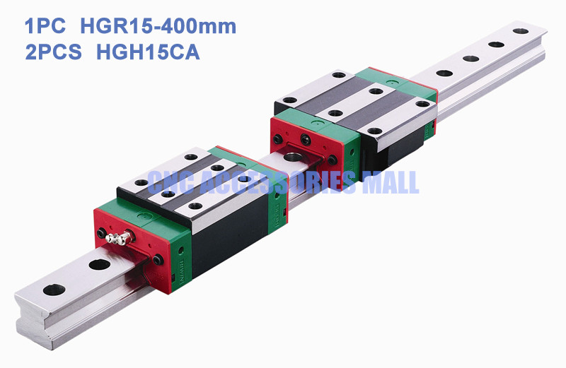 100% original 1pcs HIWIN Linear Guide Rail HGR15 L400mm + 2pcs Linear Block Carriage HGH15CA original hiwin linear guide hgr15 l600mm rail 2pcs hgh15ca narrow carriage block