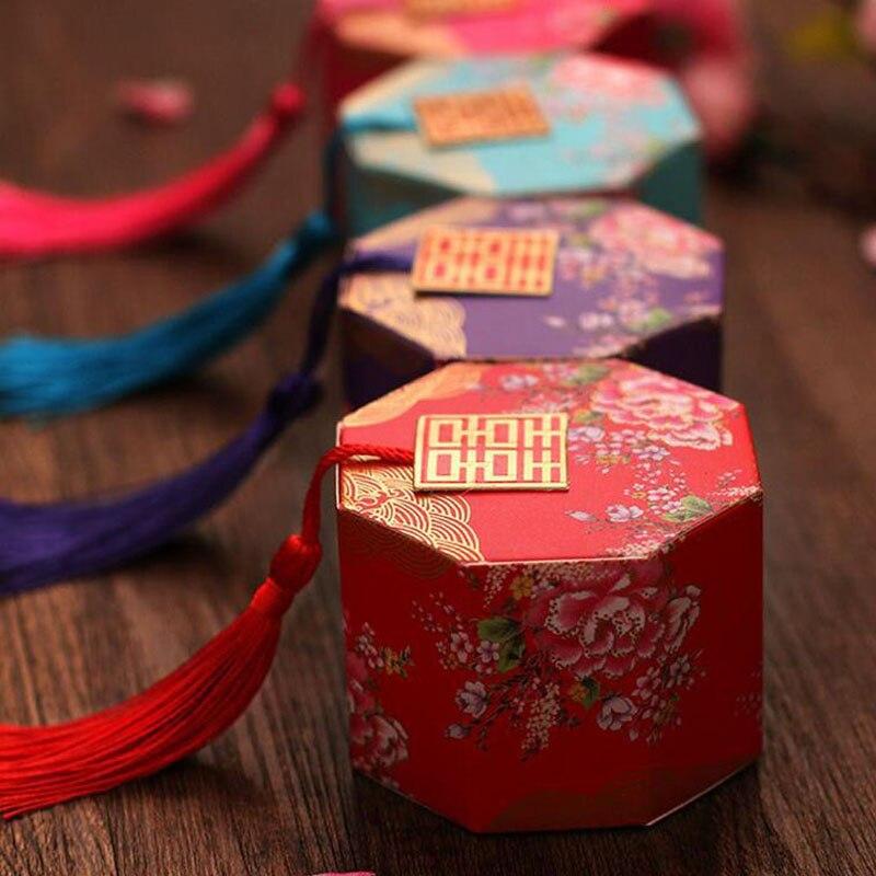 100 pcs/lot nouveau chinois Double bonheur boîte à bonbons parti faveur emballage chocolat emballage avec des glands - 3