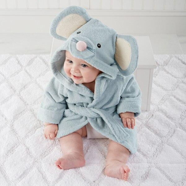 Милый детский банный халат с мышкой пандой, чистый хлопок, купальный Халат с капюшоном, Пляжное банное полотенце, спа-халат с мышкой крысы, пончо для младенцев - Цвет: blue mouse