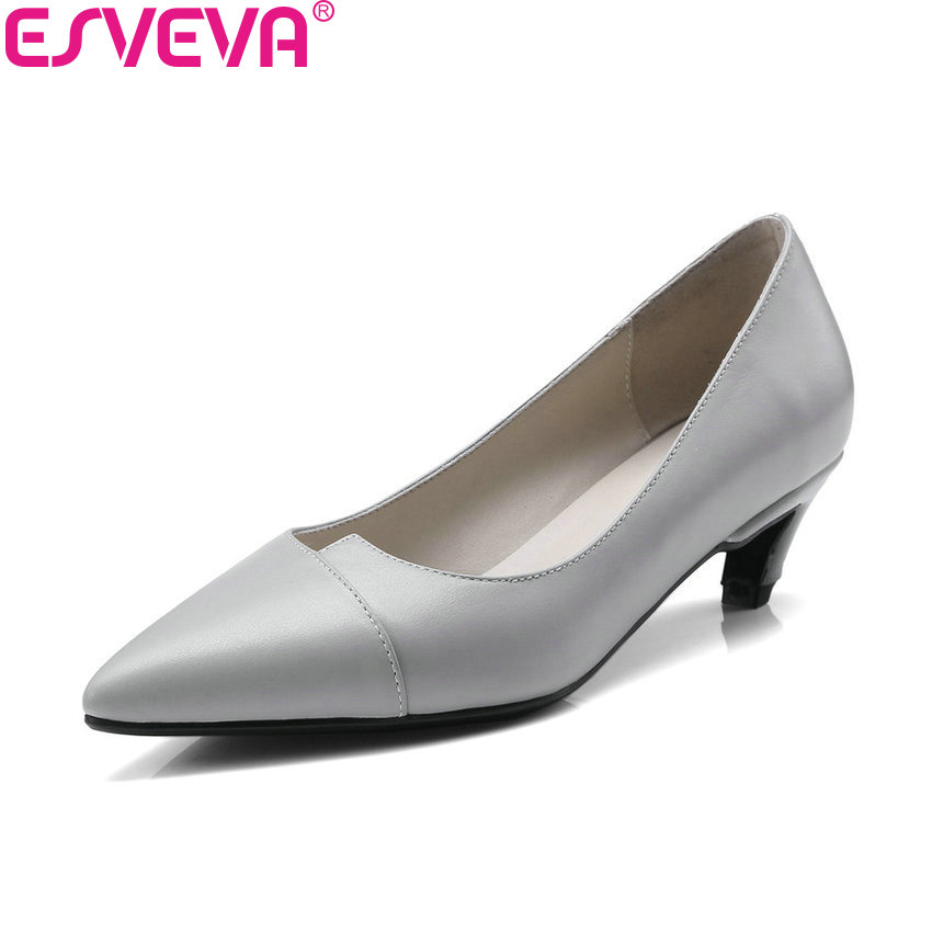 ESVEVA 2018 Women Pumps Med Heels Cow Leather PU Fashion Shoes Spring Pointed Toe Thin Heels Pumps Ladies Shoes Size 34-41 new 2017 spring summer women low heels shoes pointed toe brand fashion womens pumps ladies plus size 41 sweet
