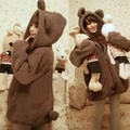 Hot Sale Women Hoodies Zipper Girl Winter Loose Fluffy Bear Ear Hoodie Hooded Jacket Warm Outerwear Coat cute sweatshirt W06