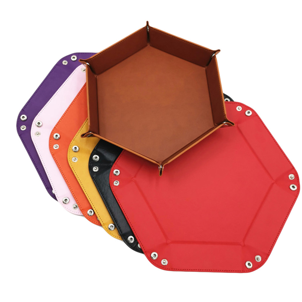 8 Colors PU Leather Folding Hexagon Dice Tray Purple Dice Box For RPG DnD Games Dice Storage Case Dropshipping(China)