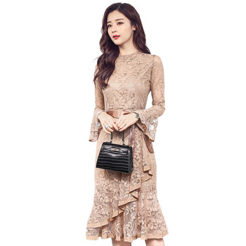 Spring Clothes Woman 2018 New Pattern Korean Flare Sleeve Lace Dress