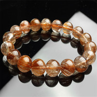 11mm Natural Copper Hair Rutilated Quartz Crystal Round Bead Women Femme Stretch Charm Bracelet Just One