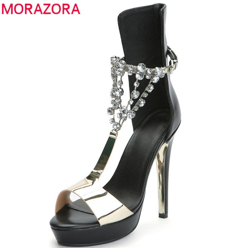 aab2f7500c0f9 Cristal Mujeres Morazora Mujer Zapatos Oro De Plataforma Estilo Las Hebilla  Alto Tacón Fiesta Moda Sandalias 2019 Sexy Boda ...