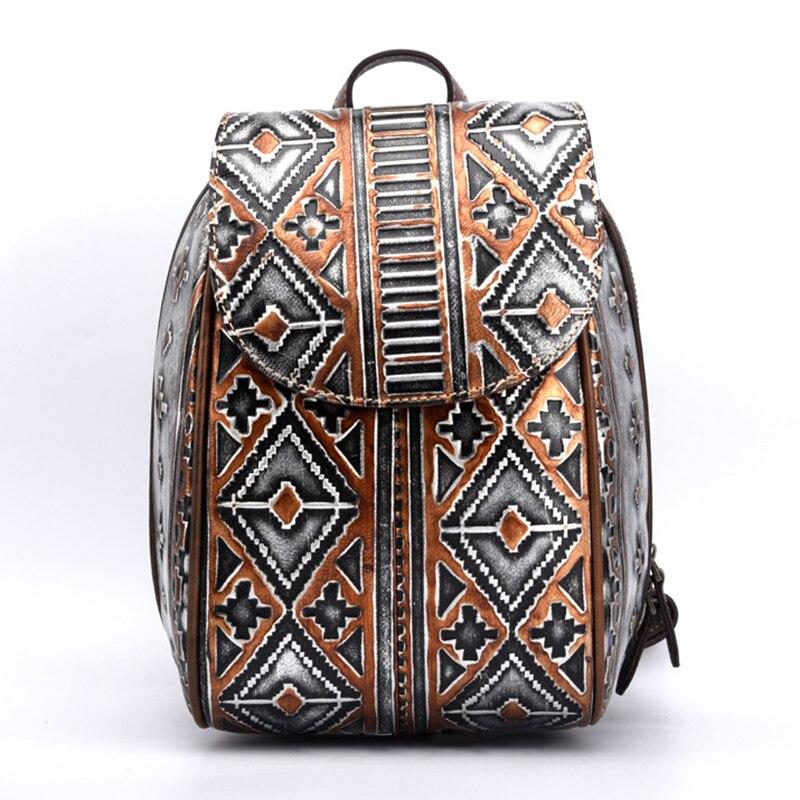 Women Vintage Rucksack Knapsack Brush Color Bag Geometry Pattern Fashion Travel Bags Daypack Genuine Leather Embossing