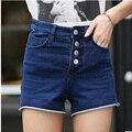 2016 New Creative Fashion Single-breasted Female Korean Tidal Slim High Waist Denim Shorts Sexy Women Shorts High Quality c-250