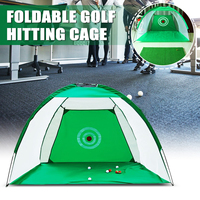 Golf Training Net Foldable Hitting Target Tent Cage Practice Driving Soccer Durable Polyester + Oxford Cloth Green 2 x 1.4m