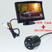 5Inch Car LCD Monitor +LED Rearview Camera Reversing Waterproof Cam Kit Factory Promotion Free Shipping