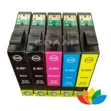 Encre 5PK Compatible pour Epson 68 T0681 69 T0691, pour stylet CX500 CX600 CX7400 CX8400, pour WorkForce 310, 315, 500, 600, 610