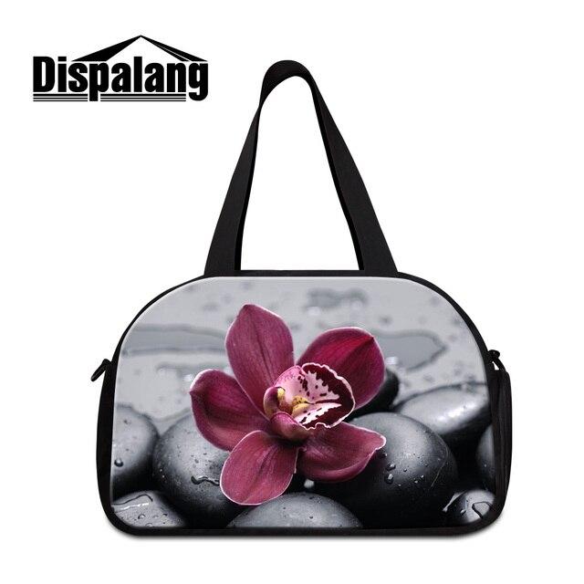 Dispalang purple floral fashion travel shoulder bags for girls portable duffle  handbag with shoes unit lady stylish weekend bag df73ab877de0b