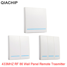 QIACHIP 433MHz Universal Wireless Remote Control 86 Wall Panel RF Transmitter Receiver 1 2 3 Button For Home Room Light Switch