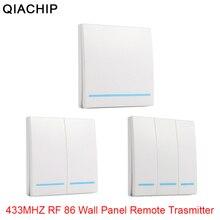 QIACHIP 433MHz evrensel kablosuz uzaktan kumanda 86 duvar paneli RF verici alıcı 1 2 3 düğme ev odası için ışık anahtarı