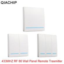 QIACHIP mando a distancia inalámbrico Universal, 433MHz, 86, Panel de pared, receptor de TRANSMISOR DE RF, 1, 2, 3 botones, para interruptor de luz de habitación