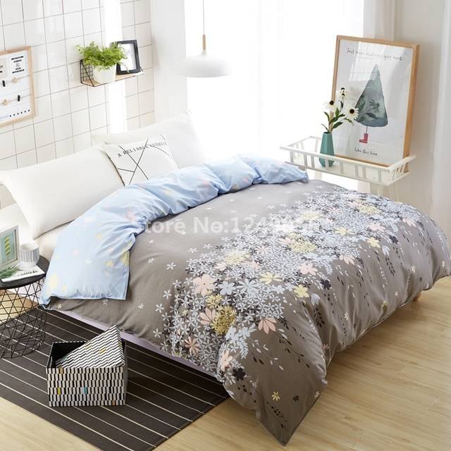 1 Pc Polyester/Cotton Comforter Case for Student Child Adult Bedding Modern Gray Small Flower Duvet Cover Twin Full Queen Size