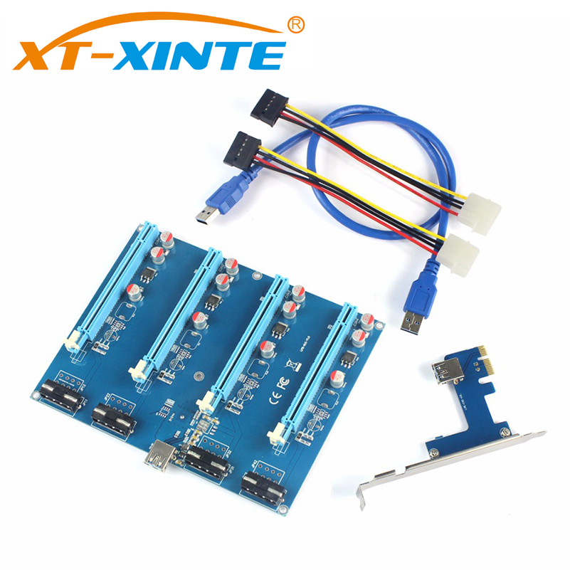 XT-XINTE PCI-E Adapter Card PCIe 1 to 4 Riser Card 1X to 16X Slot Mining Card for PC Computer Connector for Miner BTC Bitcoin