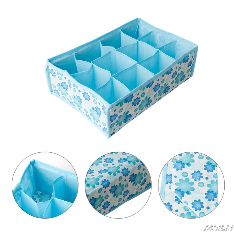 12 Grid Storage Box Bag Non-Woven Fabric Folding Case For Bra Socks Underwear Organizer For Cloth Print Storage Z03