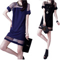 Women Dress Summer Style 2015 New Fashion Chiffon T Shirt Dresses Big Size Clothing Perspective Stitching Vestido Femme C128