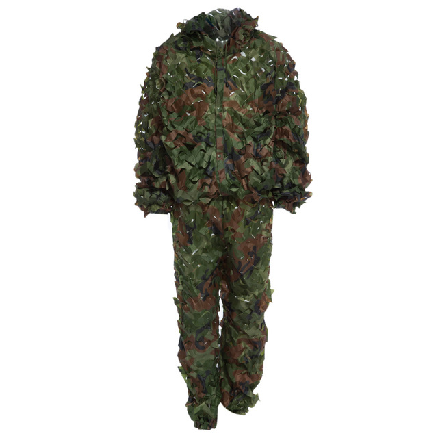 a68b3661fa61 Lifelike Hunting 3D Camo Leaf Camouflage Suits Bionic Ghillie Army Tactical  Training Suit Set CS Savage Kit with Storage Bag