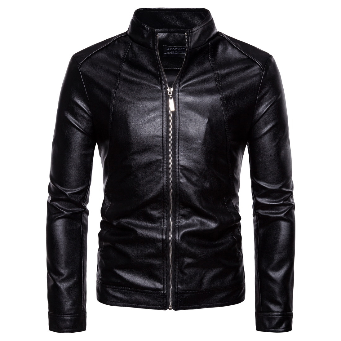 Leather Jacket Men 2018 Autumn Winter New Style Fashion Black Stand Collar Male Casual Motorcycle PU Leather Jacket Coat 5XL