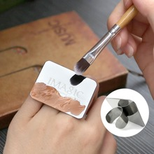 IMAGIC Nail Art Makeup Cosmetic Stainless Steel Paint Mix Palette Ring Tool