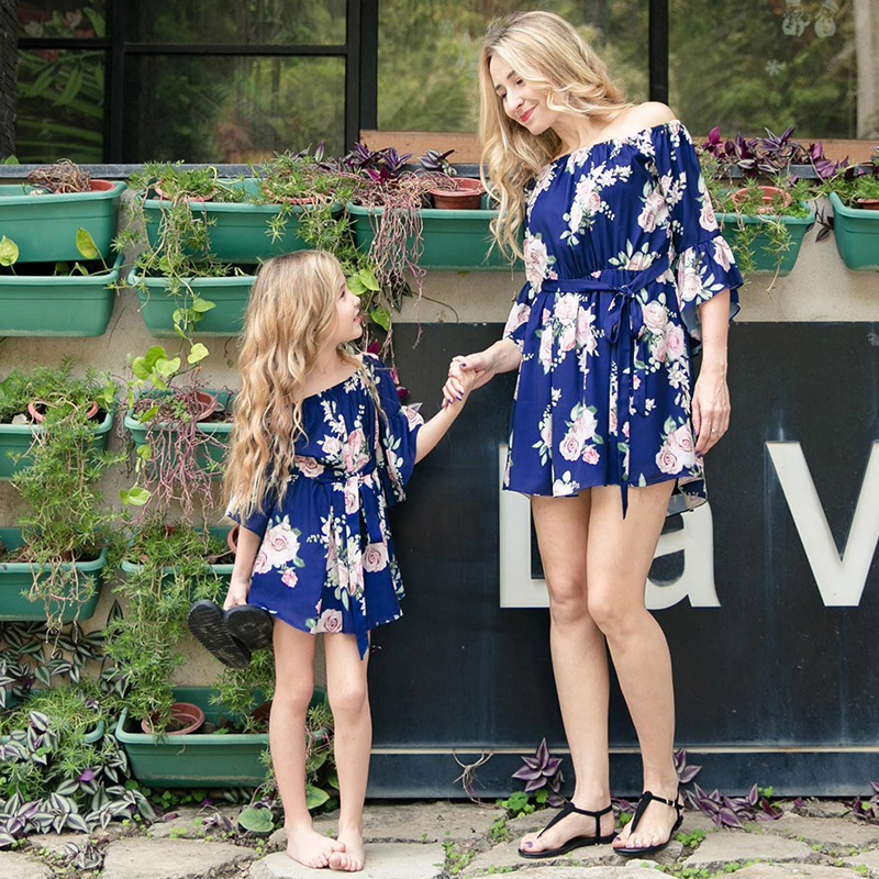 Matching Outfits Ruffled-Dresses One-Shoulder Parent-Child Party Casual Cute Print Lace-Up